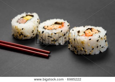 Sushi Uramaki and Chopsticks