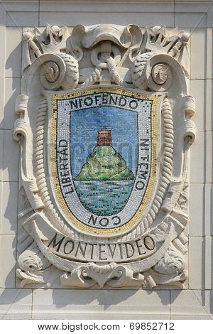Mosaic shield of renowned port city Montevideo at the facade of United States Lines B