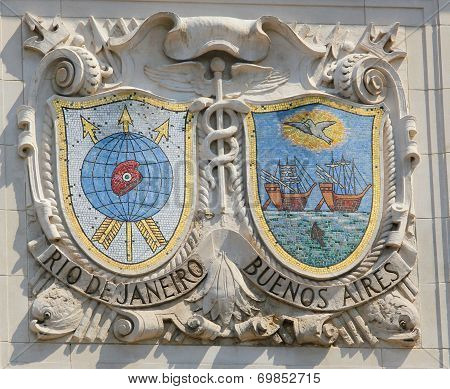 Mosaic shields of renowned port cities Rio de Janeiro and Buenos Aires