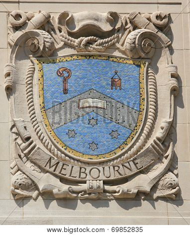 Mosaic shield of renowned port city Melbourne at the facade of United States Lines