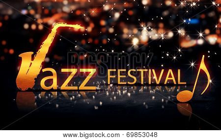 Jazz Festival Saxophone Gold City Bokeh Star Shine Yellow Background 3D