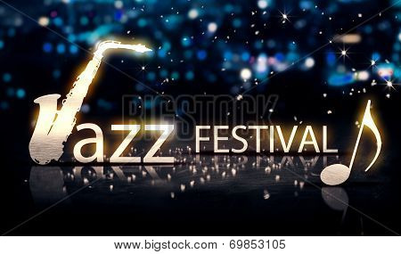 Jazz Festival Saxophone Silver City Bokeh Star Shine Blue 3D