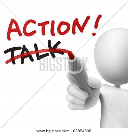 Action Word Written With Crossing Out The Word Talk
