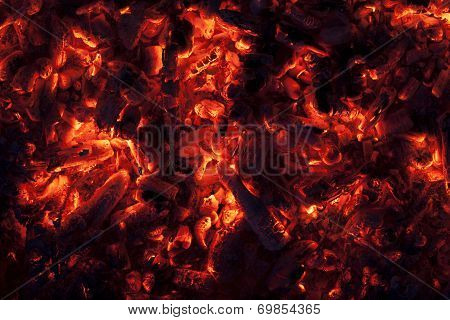 Glowing Embers In Hot Red Color