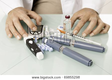 Diabetic Equipment On A Desk