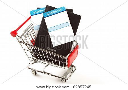 travel documents and shopping trolley
