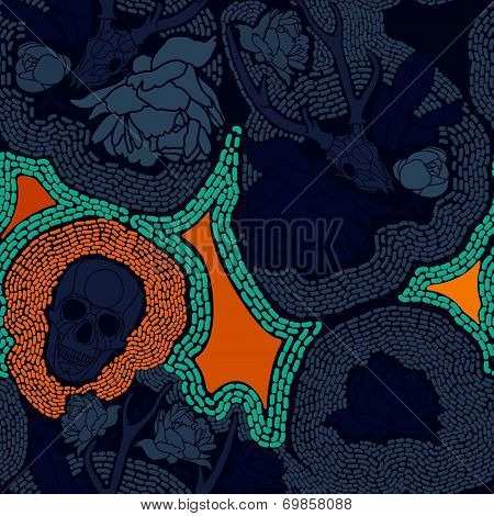 Skull with floral ornament. Vector illustration