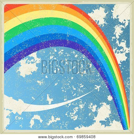 Vintage background with plane and rainbow. Vector