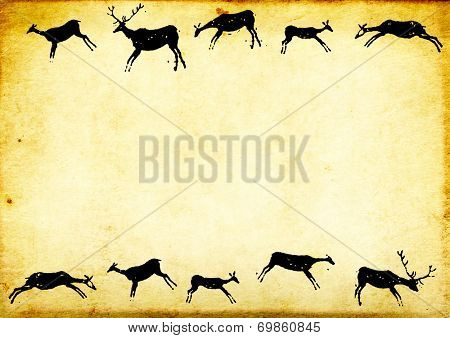 Background with paper texture and drawings of cavemen