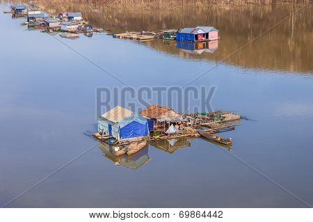 Raft house in the Nam Ka lake , Buon Ma Thuot province, Vietnam