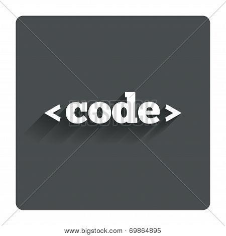 Code sign icon. Programming language symbol.