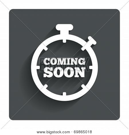 Coming soon icon. Promotion announcement symbol.