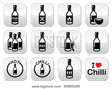 Hot chilli sauce bottle buttons set