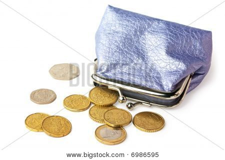 Purse With Pocket Money Isolated On White Background