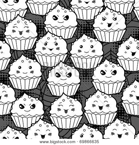Seamless halloween kawaii cartoon pattern with cute cupcakes.
