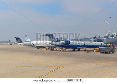 CHICAGO, IL - MAR 31: Chicago O'Hare Airport exterior on March 31, 2013 in Chicago, Illinois. It is the world's second busiest airport and was voted the