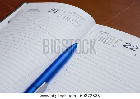 Diary And A Pen. Business Still Life