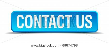 Contact Us Blue 3D Realistic Square Isolated Button