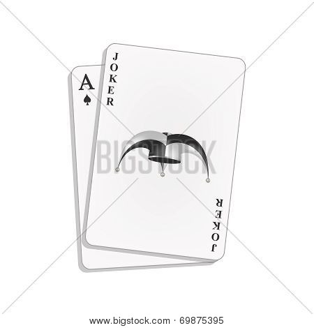 Joker and spades ace