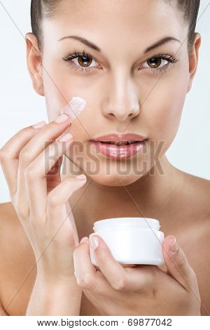 Beautiful woman with flawless skin facial hydration