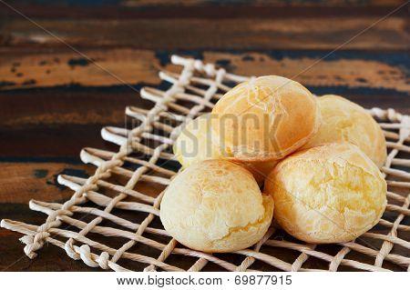 Brazilian Snack Cheese Bread (pao De Queijo) On Wooden Table