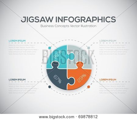 Jigsaw infographics vector business puzzle piece fresh template