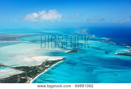 Beautiful view of Bahamas islands from above