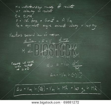 Rocket science theory against green chalkboard