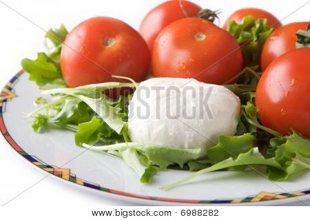 Mozzarella cheese and tomato