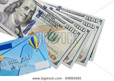 banknotes of dollars and credit card