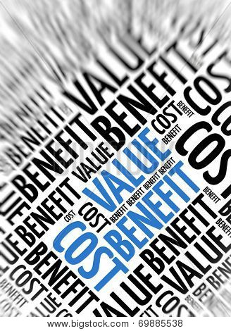 Marketing background - Cost Value Benefit - blur and focus