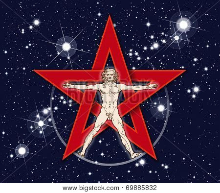 Vitruvian Man Pentagram Stars Space