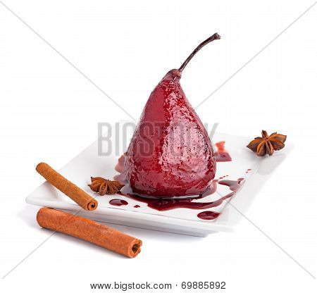 Poached Pears In Wine Syrop With Cinnamon Isolated