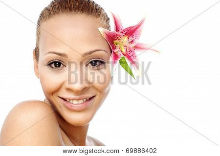 Cute Woman Face With Flower