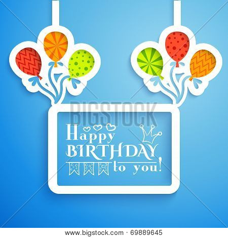 Happy birthday retro postcard with balloons. Vector