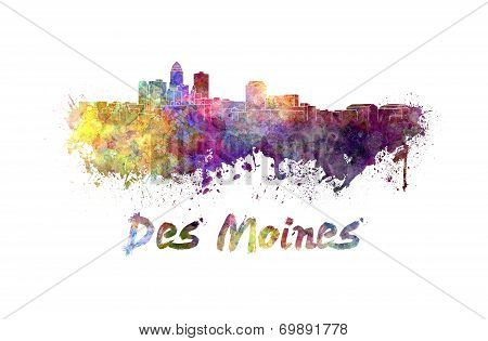 Des Moines Skyline In Watercolor