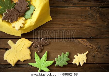 Autumn Cookies On Wooden Background