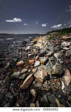 Georgian Bay landscape with rugged rocky lake shore near Parry Sound, Ontario, Canada.