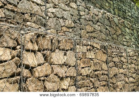 Gabion baskets filled with stones