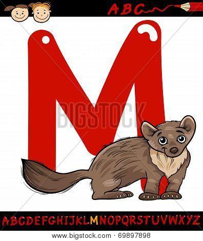 Letter M For Marten Cartoon Illustration
