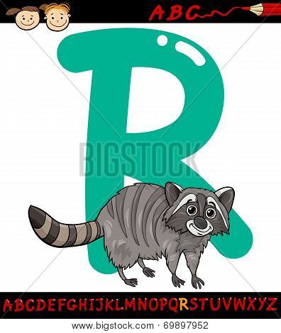 Letter R For Raccoon Cartoon Illustration