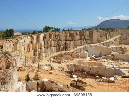 Mining plant. Marble quarry. Open-cast mine. Industrial landscape.