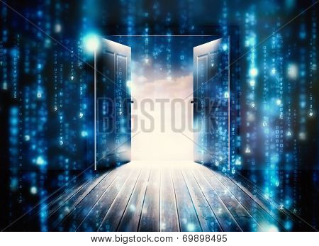 Doors opening to reveal beautiful sky against lines of blue blurred letters falling