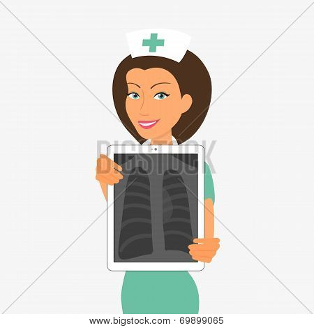 Smiling nurse hjlding tablet pc with x-ray