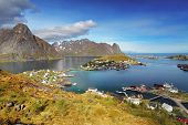 stock photo of reining  - town of Reine by the fjord on Lofoten islands in Norway - JPG