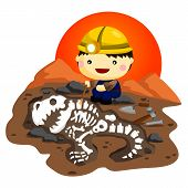 stock photo of dinosaur skeleton  - an archaeologist that found cool dinosaur bones - JPG