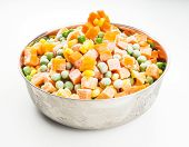pic of maize  - Frozen carrots maize and peas thawing in a steel bowl - JPG