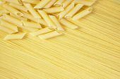 Background Of Macaroni On Long Spaghetti. poster