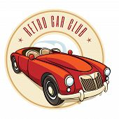 stock photo of muscle-car  - vector retro car label with vintage vehicle - JPG