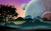image of fiction  - Science fiction space landscape with silhouettes and planets - JPG
